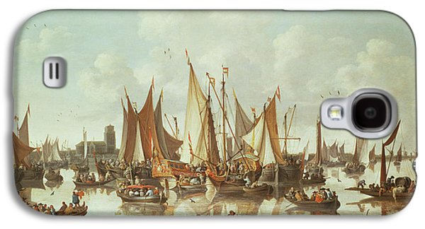 Group Of Birds Paintings Galaxy S4 Cases - Dutch ships at Dordrecht Harbor Galaxy S4 Case by Hendrick de Meyer