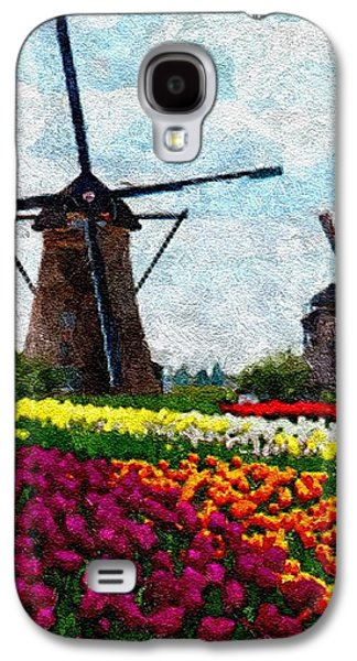 Abstract Digital Pastels Galaxy S4 Cases - Dutch Tulips and Windmills H A Galaxy S4 Case by Gert J Rheeders
