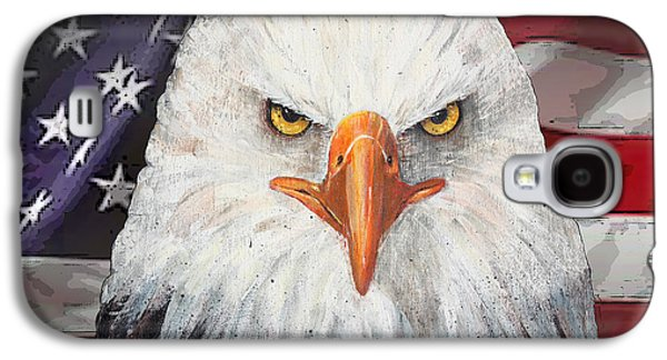 Fourth Of July Mixed Media Galaxy S4 Cases - Eagle And The Flag Galaxy S4 Case by Arline Wagner