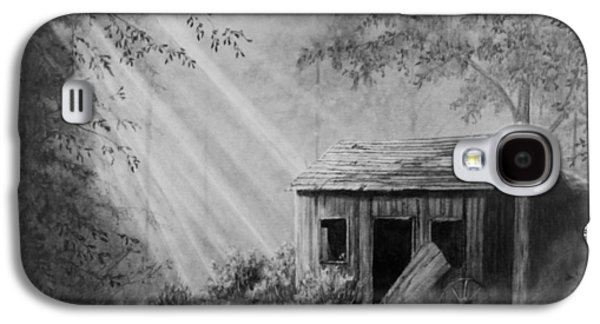 Old Barn Drawing Drawings Galaxy S4 Cases - Early Morning Cabin Galaxy S4 Case by Stephen McCall