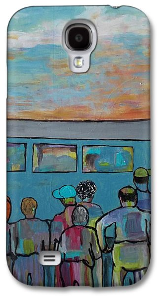Transportation Tapestries - Textiles Galaxy S4 Cases - Early Workers Waiting on the Train Galaxy S4 Case by Patricia Voelz