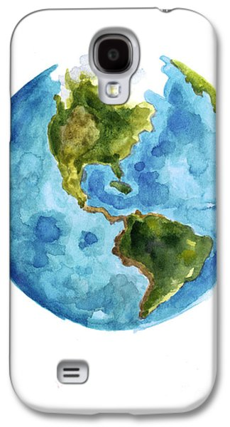 Earth America Watercolor Poster Galaxy S4 Case by Joanna Szmerdt