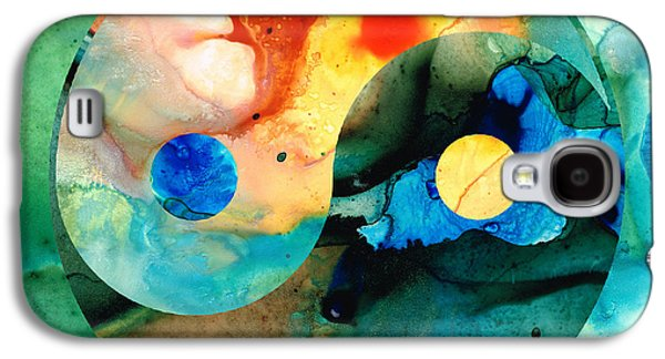Print Mixed Media Galaxy S4 Cases - Earth Balance - Yin and Yang Art Galaxy S4 Case by Sharon Cummings