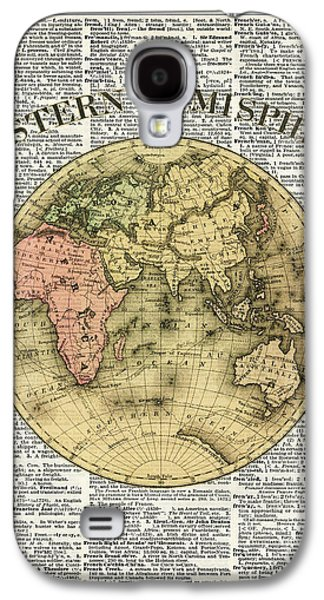 Eastern Hemisphere Earth Map Over Dictionary Page Galaxy S4 Case by Jacob Kuch