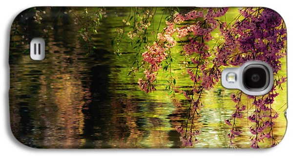 Cherry Blossoms Photographs Galaxy S4 Cases - Echoes of Monet - Cherry Blossoms Over a Pond - Brooklyn Botanic Garden Galaxy S4 Case by Vivienne Gucwa