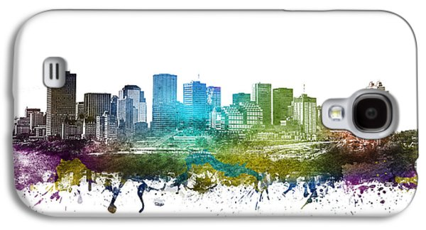 Skylines Drawings Galaxy S4 Cases - Edmonton cityscape 01 Galaxy S4 Case by Aged Pixel