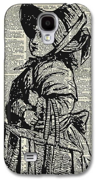 Little Girls Mixed Media Galaxy S4 Cases - Edwardian girl with basket Galaxy S4 Case by Jacob Kuch