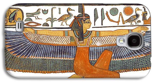 Ancient Paintings Galaxy S4 Cases - Egyptian Goddess Maat with Outstretched Wings Galaxy S4 Case by Ben  Morales-Correa