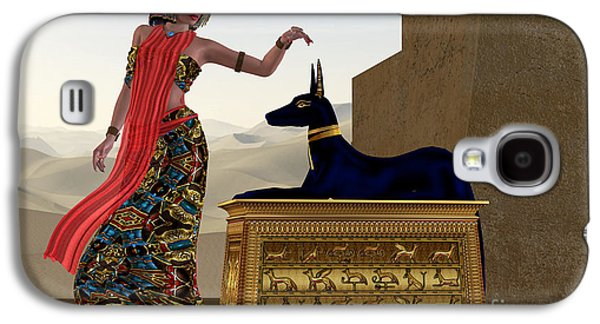 Egyptian Woman And Anubis Statue Galaxy S4 Case by Corey Ford