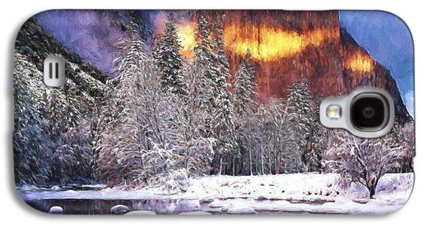 El Capitan Paintings Galaxy S4 Cases - El Capitan in Winter Galaxy S4 Case by Steve Bailey