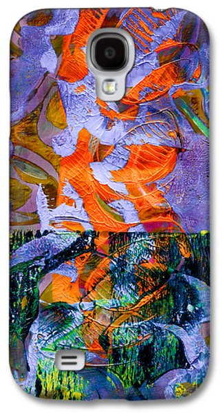 Abstract Digital Mixed Media Galaxy S4 Cases - Electric Abstract Galaxy S4 Case by Laura L Leatherwood
