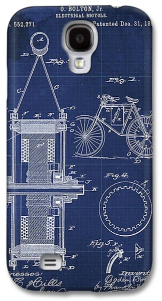 Electrical Bycicle Patent Blueprint Year 1895 Blue Vintage Decoration Galaxy S4 Case by Pablo Franchi