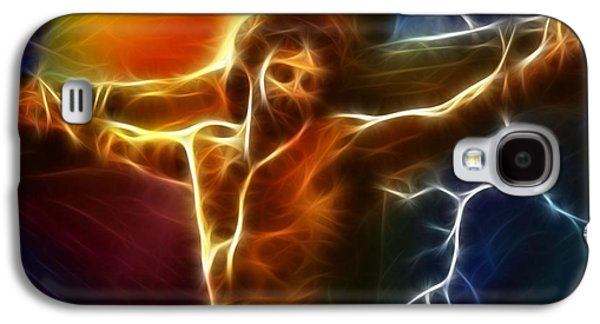 The Church Mixed Media Galaxy S4 Cases - Electrifying Jesus Crucifixion Galaxy S4 Case by Pamela Johnson