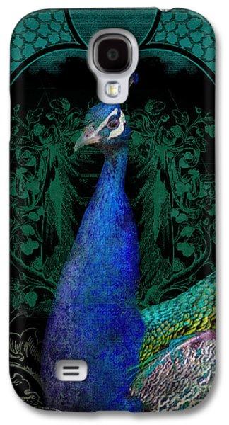 Elegant Peacock W Vintage Scrolls  Galaxy S4 Case by Audrey Jeanne Roberts