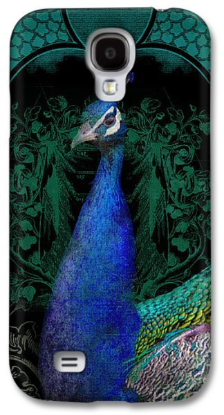 Graphic Mixed Media Galaxy S4 Cases - Elegant Peacock w Vintage Scrolls  Galaxy S4 Case by Audrey Jeanne Roberts