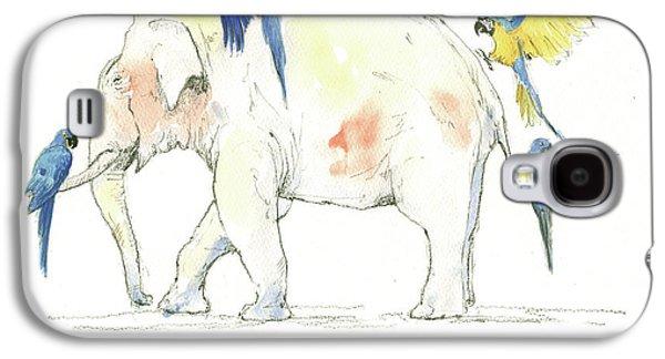 Elephant And Parrots Galaxy S4 Case by Juan Bosco