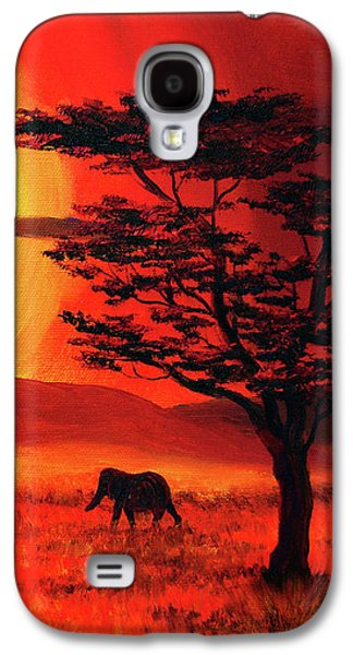 Elephant In A Bright Sunset Galaxy S4 Case by Laura Iverson