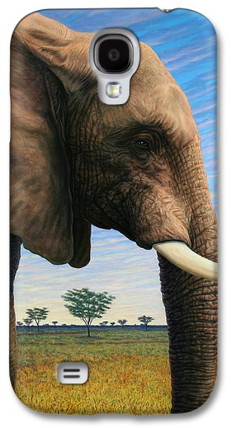 African Paintings Galaxy S4 Cases - Elephant on Safari Galaxy S4 Case by James W Johnson