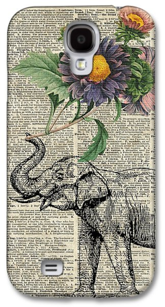 Elephant With Flowers Galaxy S4 Case by Jacob Kuch