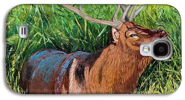 Elk Original Oil Painting On 24x24x1 Inch Gallery Canvas Galaxy S4 Case by Manuel Lopez