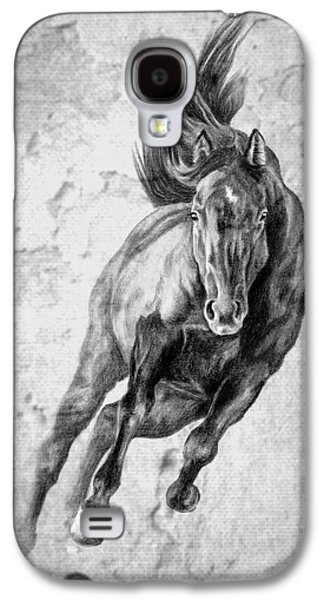 Horse Digital Galaxy S4 Cases - Emergence Galloping Black Horse Galaxy S4 Case by Renee Forth-Fukumoto