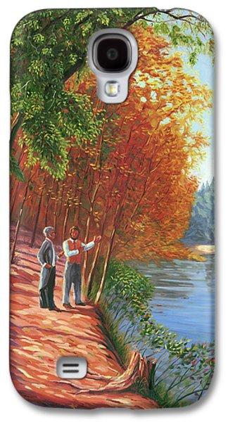 Walden Pond Galaxy S4 Cases - Emerson and Thoreau at Walden Pond Galaxy S4 Case by Steve Simon