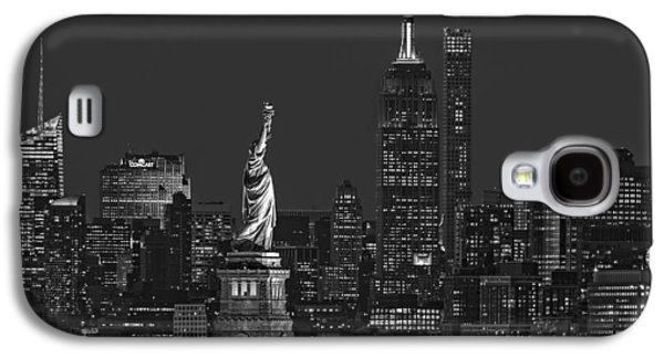 Empire State And Statue Of Liberty II Bw Galaxy S4 Case by Susan Candelario