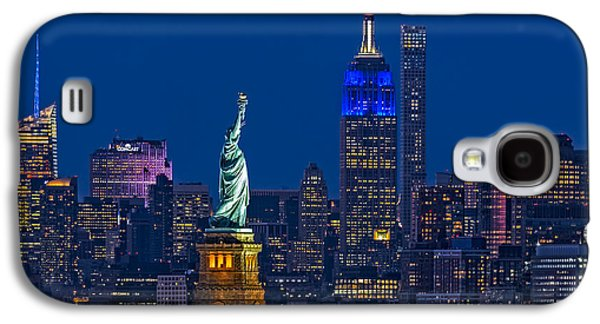 Empire State And Statue Of Liberty II Galaxy S4 Case by Susan Candelario