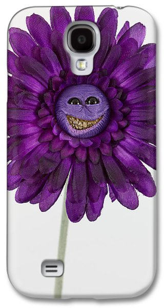 Floral Sculptures Galaxy S4 Cases - Enchanted purple happy flower Galaxy S4 Case by Voodoo Delicious