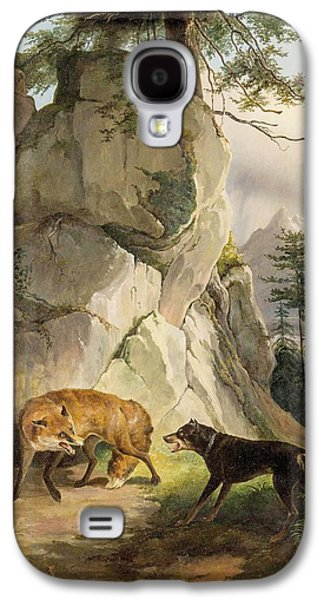 Encounter Of Fox And Dog In Rocky Landscape Galaxy S4 Case by MotionAge Designs
