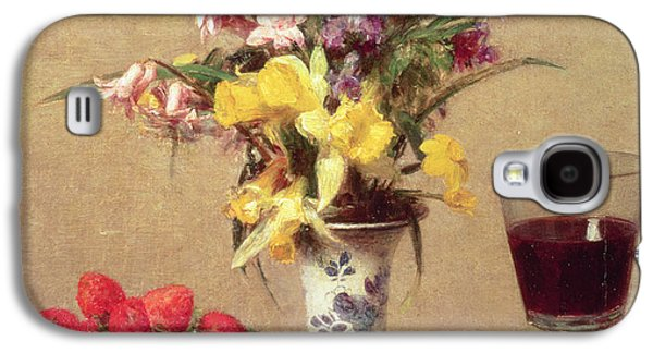 Interior Still Life Paintings Galaxy S4 Cases - Engagement Bouquet Galaxy S4 Case by Ignace Henri Jean Fantin-Latour