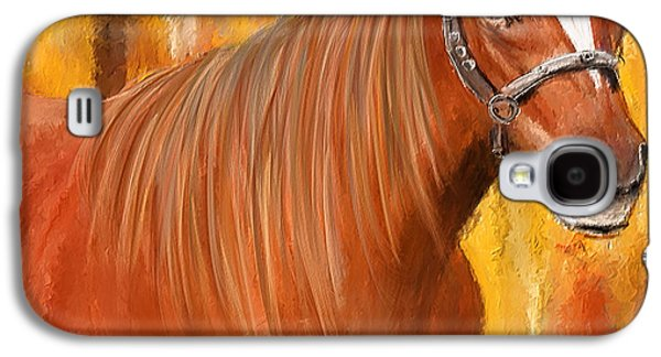 Horse Racing Galaxy S4 Cases - Equine Prestige - Horse Paintings Galaxy S4 Case by Lourry Legarde