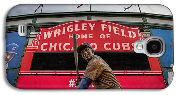 Sports Photographs Galaxy S4 Cases - Ernie Banks Statue at Wrigley Field Galaxy S4 Case by Mike Burgquist