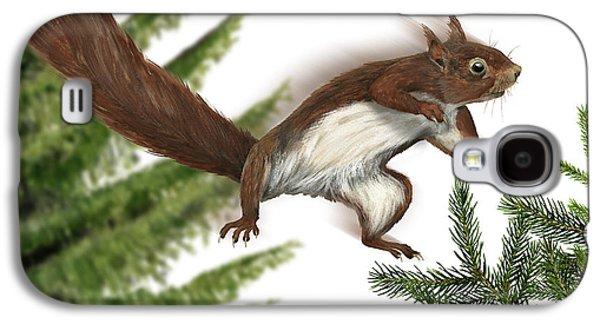 Nature Study Drawings Galaxy S4 Cases - Eurasian Red Squirrel Sciurus vulgaris - Ecureuil Roux - Ardilla Roja - Eichhoernchen - Eekhoorn Galaxy S4 Case by Urft Valley Art
