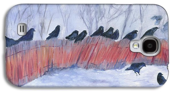 Caws Paintings Galaxy S4 Cases - Evanston Crow Roost Galaxy S4 Case by Barb Kirpluk