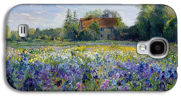Purple Paintings Galaxy S4 Cases - Evening at the Iris Field Galaxy S4 Case by Timothy Easton