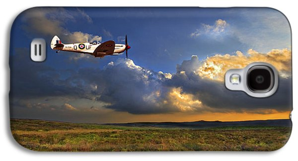 Flight Galaxy S4 Cases - Evening Spitfire Galaxy S4 Case by Meirion Matthias