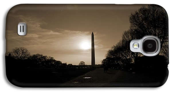 Evening Washington Monument Silhouette Galaxy S4 Case by Betsy Knapp
