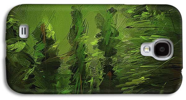 Evergreens - Green Abstract Art Galaxy S4 Case by Lourry Legarde