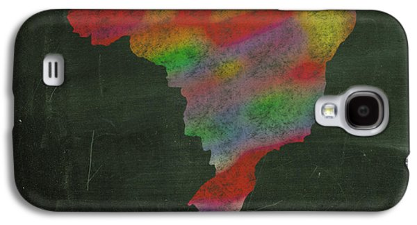 Hand Drawn Galaxy S4 Cases - Explore Brazil Map Hand Drawn Country Illustration on Chalkboard Vintage Travel Promotional Poster Galaxy S4 Case by Design Turnpike