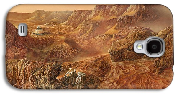 Cosmic Space Paintings Galaxy S4 Cases - Exploring Mars Nanedi Valles Galaxy S4 Case by Don Dixon