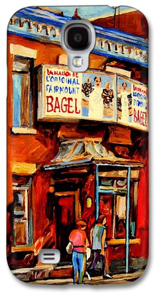 Montreal Storefronts Paintings Galaxy S4 Cases - Fairmount Bagel Montreal Galaxy S4 Case by Carole Spandau
