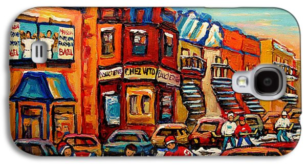 Montreal Storefronts Paintings Galaxy S4 Cases - Fairmount Bagel With Hockey Galaxy S4 Case by Carole Spandau