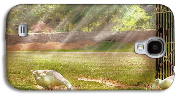 Mother Goose Galaxy S4 Cases - Farm - Geese -  Birds of a Feather - Panorama Galaxy S4 Case by Mike Savad