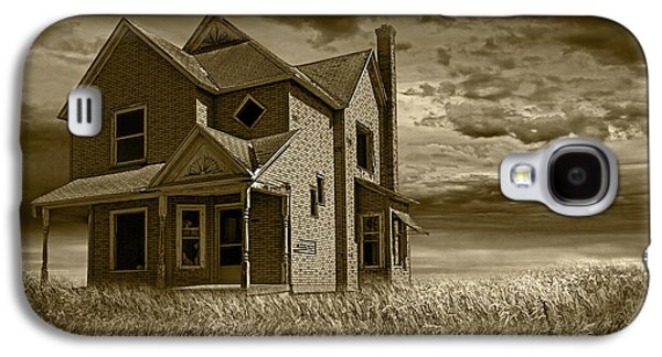 Selenium Galaxy S4 Cases - Farm House at Sunset in Sepia Galaxy S4 Case by Randall Nyhof