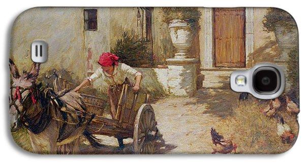 Farm Yard Scene Galaxy S4 Case by Henry Herbert La Thangue