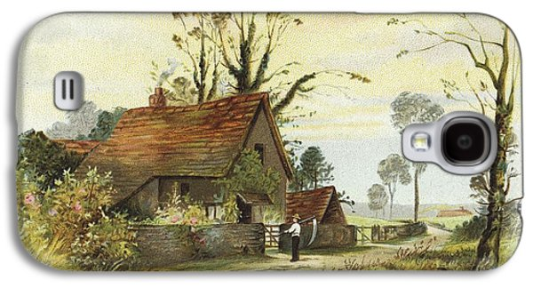 Shed Galaxy S4 Cases - Farmer With Cottage Landscape Galaxy S4 Case by Gillham Studios