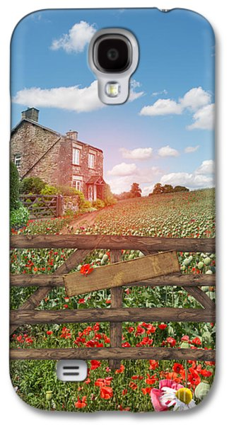 Quaint Photographs Galaxy S4 Cases - Farmhouse In Poppy Field Galaxy S4 Case by Amanda And Christopher Elwell