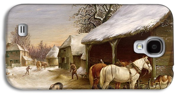 Farmyard In Winter  Galaxy S4 Case by Henry Woollett