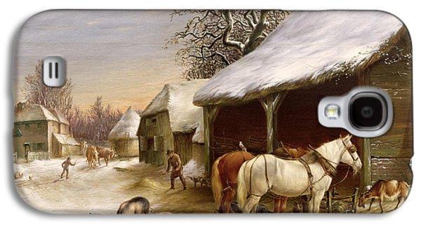 Farmyard In Winter  Galaxy S4 Case by Henry Woollett